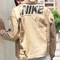 NIKE Fashion New Back Letter Print Women Men Long Sleeve Coat Khaki