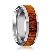 Domed Polished Men's Tungsten Wedding Band with Mahogany Wood Inlay Polished Finish - 8MM