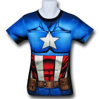 Captain America Sublimated Costume Fitness T-Shirt