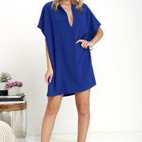 Simply Marvelous Royal Blue Shift Dress