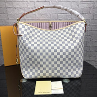 LV Louis Vuitton tide brand female high quality shoulder bag handbag White check