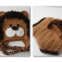 Lion Baby Hat and Diaper Cover Set - Handmade Crochet - Animal Baby Set - Made to Order
