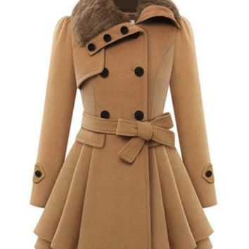 Fur Collar Double Breasted Pleated Woolen Trench Coat