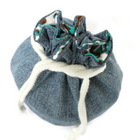 Denim Bucket Bag Teal Brown White Flannel Upcycled Blue Jeans Makeup Travel Tote -US Shipping Included