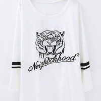 White Long Sleeve Tiger Letters Print T-Shirt - Sheinside.com