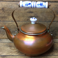 Distressed Copper Plated Kettle Teapot with Ceramic Handle