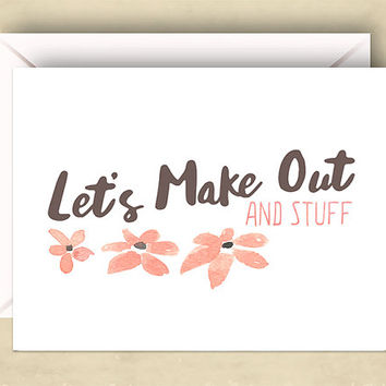Cute Love Card, Naughty Love Card, Let's Make Out and Stuff Card, 5.5 x 4.25 Inch (A2), Valentine, Kiss, Pink Flowers
