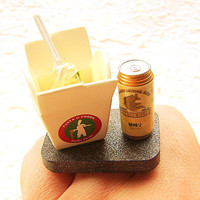 Kawaii Food Ring Take Out Pasta Beer Miniature by SouZouCreations