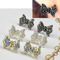 Vintage Retro Bow Tie Earrings Cute Rhinestone Crystal Bowknot Ear Stud 5166 Necklace = 1745502020
