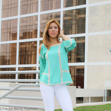 Solid cold shoulder peasant blouse with ladder lace accent (Mint)