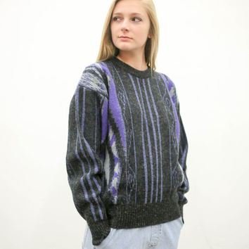 80's oversized cosby pullover sweater, vintage 1980s 1990s purple black, 90s dark pattern, ironic vtg tumblr, soft grunge, urban outfitters