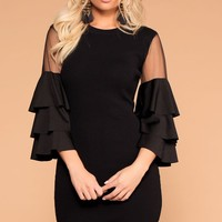 Enchanted Black Ruffle Sleeve Dress