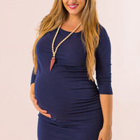 My Wish Maternity Dress in Navy