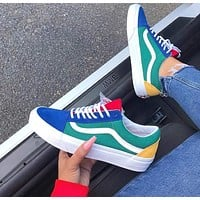VANS restore ancient ways Colourful Vans OLD SKOOL Blue Patchwork Men and Women shoes