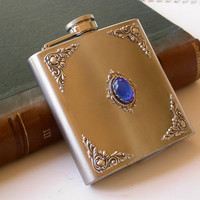Liquor Flask Sapphire and Silver on Stainless by LeBoudoirNoir