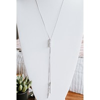 Long Curve Rhinestone Ring Lariat (Sale)
