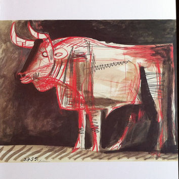 """Pablo Picasso 1972 Vintage Lithograph Signed on the Plate Entitled """"Taureau"""", c. 1955 - From Sari Heller Gallery - A Classic Picasso!"""