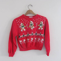 vintage ugly Christmas sweatshirt // tacky christmas sweater // holiday party sweater in red // childs size