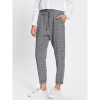 Rolled Hem Drawstring Plaid Pants