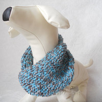 Neck Warmer for Large / Medium Dog Hand Knitted  Snood  Scarf Varicolored Gray-Blue ready to  ship
