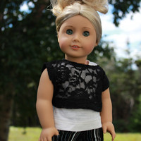 ivory tank top, lace off the shoulder tee and striped skinny cords, 18 inch doll clothes, American Girl