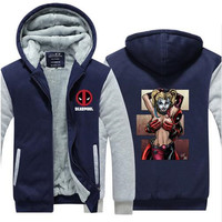 Deadpool Printed Zipper Cardigan Jacket Casual Outerwear Harley Quinn Funny Fleece Coat