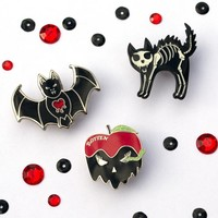 Goth Red and Black Pin Set