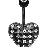 Blackline Multi-Glass-Gem Puffy Heart Belly Button Ring