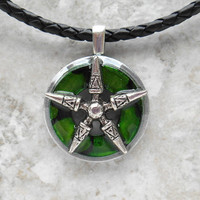 star necklace: green - mens necklace - mens jewelry - boyfriend gift - leather cord - christmas gift - unique gift - unique jewelry