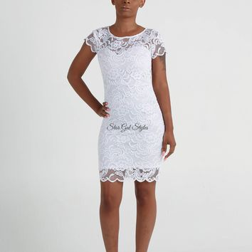 Katie White Floral Lace Short Sleeve Bodycon Dress