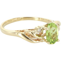 Peridot Diamond Small Vintage Right Hand Ring 14k Yellow Gold Estate Jewelry