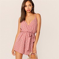 Polka Dot Belted Wrap V Neck Sexy Rompers Womens Jumpsuit Spaghetti Strap Sleeveless Boho Romper Ladies Playsuit