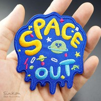 SPACE OUT (Size:7.2X8.2cm) DIY Iron On Badges Cloth Jeans Cowboy Patch Clothes Down Jackets Decoration Applique Badge Patches
