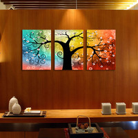 Picture frame 3 Panel Modern Lucky Tree Painting Picture On Canvas Decor Cuadros For Living Room(No Frame)TB-015