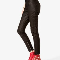 Zippered Faux Leather Pants