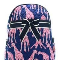 Giraffe Print Quilted Backpack