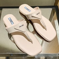 Prada solid color letter printing logo ladies casual sandals slippers Shoes Pink