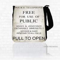 """Doctor Who BBC """"Pull To Open"""" *BIG* Messenger Bag Purse"""