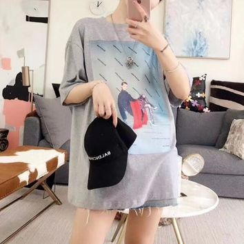 """Balenciaga"" Women Loose Casual Fashion Character Letter Pattern Print Short Sleeve Middle Long Section T-shirt Dress"