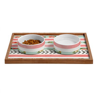 Allyson Johnson Floral Stripes And Arrows Pet Bowl and Tray