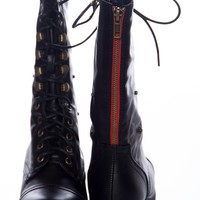 Style Unfolds Red Zipper Fold Down Combat Boots - Black from Bamboo Shoes at Lucky 21