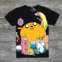 Adventure Time T-Shirt Fashion Cartoon Full Print Adventure Time Finn and Jake T Shirt Tee Top Black Casual tshirt For Men Women
