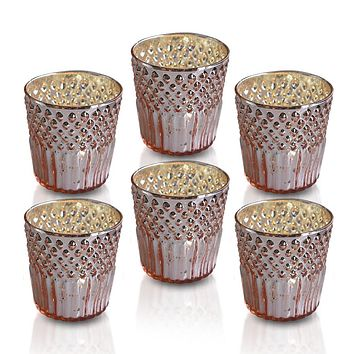 6 Pack | Mercury Glass Tealight Holders (2.75-Inches, Ophelia Design, Rose Gold Pink) - For Use with Tea Lights - For Home Decor, Parties and Wedding Decorations