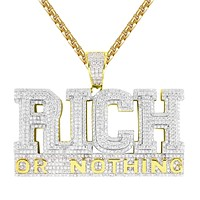 Sterling Silver Rich Or Nothing Double Layer Hustler Pendant