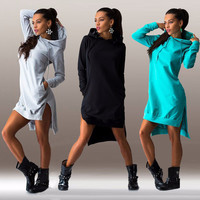 2016 New Arrival Winter Dress Cotton O-neck Long Sleeve Fashion Casual Style Irregular Solid Hooded Women's Dress Free hipping
