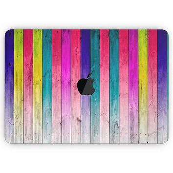 """Vibrant Neon Colored Wood Strips - Skin Decal Wrap Kit Compatible with the Apple MacBook Pro, Pro with Touch Bar or Air (11"""", 12"""", 13"""", 15"""" & 16"""" - All Versions Available)"""