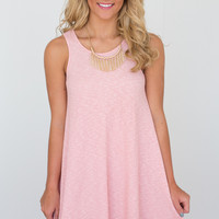 Ribbed Two Tone Swing Dress - Dusty Rose