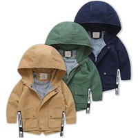 Trendy 2018 New Long Jackets For Boys Hooded Baby Boy Windbreaker Boys Jackets And Coats Spring Autumn Children Outerwear Clothes AT_94_13