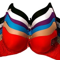 Sofra Women's 247 Frenzy Lace Accent Full Cup Bra (6 Pack)