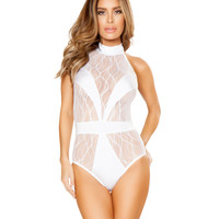 White Sheer Lace V Strap Rave Bodysuit